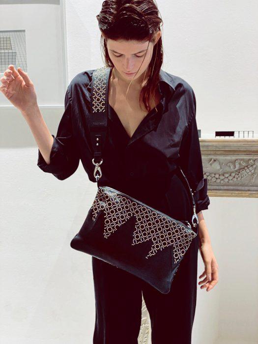 CARLOTTA AMBRA pochette borchie geometric NUOVO FD